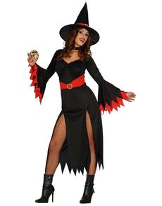 Déguisement sorcière sexy rouge femme