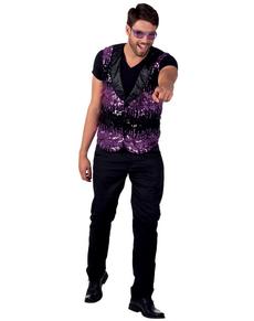 Gilet violet paillettes homme