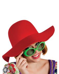 Grand chapeau rouge femme